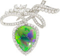 Estate Jewelry:Brooches - Pins, Black Opal, Diamond, Platinum Brooch . ...