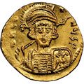 Ancients:Byzantine, Ancients: Constantine IV Pogonatus (AD 668-685). AV solidus (19mm, 4.39 gm, 7h). NGC MS 4/5 - 4/5, clipped....