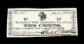Obsoletes By State:Louisiana, West Feliciana Parish, LA- Parish of West Feliciana 10¢ July 9, 1862. ...