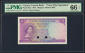Ceylon Central Bank of Ceylon 2 Rupees 1952 Pick 50cts Color Trial Specimen PMG Gem Uncirculated 66 EPQ