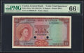 Ceylon Central Bank of Ceylon 10 Rupees ND (1953-54) Pick 55cts Color Trial Specimen PMG Gem Uncirculated 66 EPQ