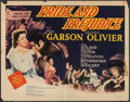 "Movie Posters:Drama, Pride and Prejudice (MGM, 1940). Folded, Very Good/Fine. Half Sheet (22"" X 28"") Style B. Drama.. ..."