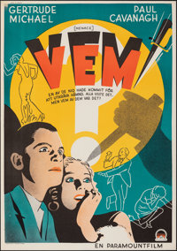 "Menace (Paramount, 1935). Very Fine on European Linen. Swedish One Sheet (27.25"" X 39""). Mystery"