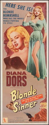 """Blonde Sinner & Other Lot (Allied Artists, 1956). Rolled, Fine/Very Fine. Inserts (2) (14"""" X 36""""). Bad Gir..."""