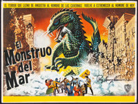 """The Beast from 20,000 Fathoms (Warner Bros., 1953). Very Fine. Autographed Mexican Title Lobby Card (17"""" X 12.5&quo..."""