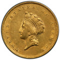 1855 G$1 Type 2 AU55 PCGS. PCGS Population: (688/1931 and 0/45+). NGC Census: (1072/3559 and 0/27+). CDN: $455 Whsle. Bi...