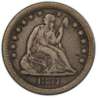 1857-S 25C VF25 PCGS. PCGS Population: (4/69 and 0/2+). NGC Census: (1/39 and 0/0+). CDN: $650 Whsle. Bid for NGC/PCGS V...
