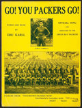 Football Collectibles:Publications, 1931 Green Bay Packers Original Sheet Music - Go! You Packers Go! ...