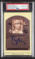 Autographs:Post Cards, 2015 Randy Johnson Signed Yellow Hall of Fame Plaque Postcard, PSA/DNA GM-MT 10...