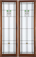 Glass, Frank Lloyd Wright (American, 1867-1959). Pair of Windows, before 1930. Leaded glass in walnut frames. 58-1/4 x 17-3/4 x... (Total: 2 Items)