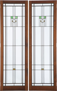 Frank Lloyd Wright (American, 1867-1959) Pair of Windows, before 1930 Leaded glass in walnut frames<