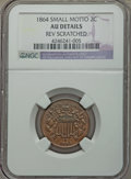 Two Cent Pieces, 1864 2C Small Motto -- Rev Scratched -- NGC Details. AU. Mintage 19,847,500. ...