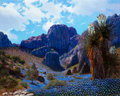 Paintings, William A. Slaughter (American, 1923-2003). Blue Cliff and Blooms. Oil on canvas. 24 x 30 inches (61.0 x 76.2 cm). Signe...