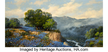 A.D. Greer (American, 1904-1998) Bluebonnets, 1985 Oil on canvas 24 x 48 inches (61.0 x 121.9 cm) Signed lower left:...