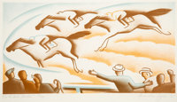 Alexandre Hogue (American, 1898-1994) On the Back Stretch, 1935 Lithograph in colors on paper 14-3/8 x 22-1/4 inches