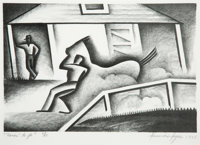 Alexandre Hogue (American, 1898-1994) Rarin' to Go, 1935 Lithograph on paper 13-1/2 x 18 inches (34.3 x 45.7 cm) (she
