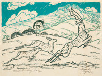 Alexandre Hogue (American, 1898-1994) March Fantasy, 1927 Woodblock print in colors on Japon paper 12 x 16-1/2 inches