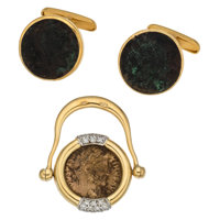Ancient Coin, Diamond, Gold Jewelry ... (Total: 2 Items)