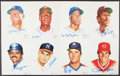 Autographs:Others, Signed Ron Lewis MLB Legends Portraits, Lot of 19 With 18 Signed!...