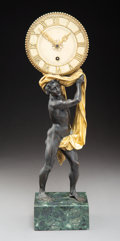 Clocks & Mechanical, An E. F. Caldwell & Co. Partial Gilt Bronze and Marble Figural Clock, circa 1920. Marks: Inscribed E. F. Caldwell & Co. In...