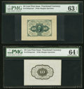 Fractional Currency:First Issue, Fr. 1243SP 10¢ First Issue Wide Margin Face PMG Choice Uncirculated 63 EPQ. Fr. 1243SP 10¢ First Issue Wide Margin Back PM... (Total: 2 notes)