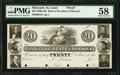 Obsoletes By State:Missouri, Saint Louis, MO- Bank of the State of Missouri $20 18__ Proof G4 PMG Choice About Unc 58, 4 POCs.. ...