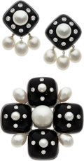 Estate Jewelry:Suites, Diamond, South Sea Cultured Pearl, Black Onyx, White Gold Jewelry Suite, Tallarico. ... (Total: 2 Items)