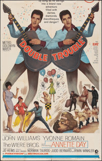 """Double Trouble (MGM, 1967). Folded, Fine+. Partial Three Sheet (41"""" X 64.75""""). Elvis Presley"""