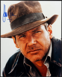"Harrison Ford in Indiana Jones and the Temple of Doom (Paramount, 1984). Near Mint. Autographed Portrait Photo (8""..."