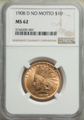 Indian Eagles, 1908-D $10 No Motto MS62 NGC. NGC Census: (175/86). PCGS Population: (319/198). CDN: $2,275 Whsle. Bid for NGC/PCGS MS62. M...