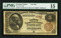 National Bank Notes:Maine, Portland, ME - $5 1882 Brown Back Fr. 467 The Casco National Bank Ch. # 1060 PMG Choice Fine 15.. ...