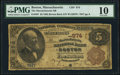 Boston, MA - $5 1882 Brown Back Fr. 467 The Massachusetts National Bank Ch. # 974 PMG Very Good 10