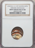 No Date 1C Memorial Reverse, Lincoln Cent -- Struck Off Center with Obverse Brockage -- MS65 Red and Brown NGC