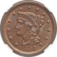 1857 1C Large Date MS66 Brown NGC. NGC Census: (4/0). PCGS Population: (0/0). MS66. Mintage 333,456. ...(PCGS# 1928)