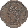 1854 1/2 C C-1, B-1, R.1, MS65+ Brown NGC. NGC Census: (56/16 and 1/0+). PCGS Population: (2/2 and 0/0+). MS65. Mintage...