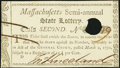 Colonial Notes:Massachusetts, Massachusetts Semi-Annual State Lottery. Mar. 2, 1790. Class the Second. Choice New, HOC.. ...