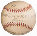 Autographs:Baseballs, Connie Mack Single Signed Baseball. Offered is the...