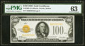 Small Size:Gold Certificates, Fr. 2405 $100 1928 Gold Certificate. PMG Choice Uncirculated 63.. ...