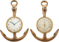 "Hermès Set of Two: Vintage Maritime Barometer and Clock Condition: 4 4.5"" Width x 6.75"" Height x... (To..."