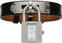 Hermès Diamond Kelly Lock Watch with Shiny Black Alligator Strap K Square, 2007 Condition: 2<