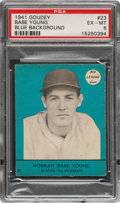Baseball Cards:Singles (1940-1949), 1941 Goudey Norman Babe Young (Blue-Short Print) #23 PSA EX-MT 6 - Pop Two, None Higher! ...