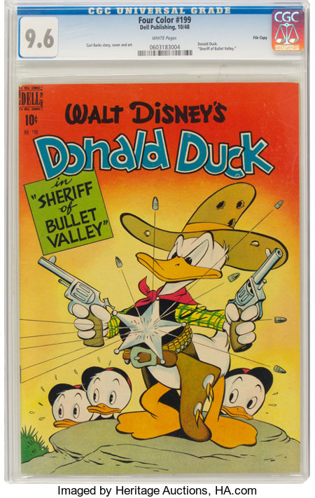 Four Color #199 Donald Duck - File Copy (Dell, 1948) CGC NM+ 9.6 White pages....