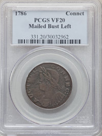 1786 CONNCT Connecticut Copper, Mailed Bust Left, VF20 PCGS. PCGS Population: (7/46). NGC Census: (6/43). ...(PCGS# 331)