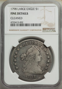 1798 $1 Large Eagle, Pointed 9 -- Cleaned -- NGC Details. Fine. Mintage 327,536. ...(PCGS# 6873)