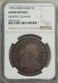1798 $1 Large Eagle, Pointed 9 -- Cleaned, Graffiti -- NGC Details. Good. Mintage 327,536. ...(PCGS# 6873)