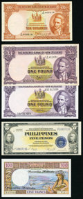 World Currency, World Lot of 9 Examples That includes Russia; New Zealand; Philippines; Mexico; New Hebrides; Tahiti Very Fine-Choice Uncircul... (Total: 9 notes)