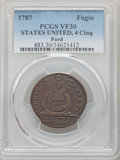 1787 CENT Fugio Cent, STATES UNITED, 4 Cinquefoils, Pointed Rays, VF30 PCGS. EX: Ford. PCGS Population: (150/1148). NGC...