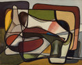 Paintings, Karl Benjamin (American, 1925-2012). Untitled, 1951. Oil on canvas laid on board. 15-7/8 x 20 inches (40.3 x 50.8 cm). S...