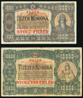 Hungary Ministry of Finance 1,000; 10,000 Korona 1923 Pick 75b; 77b Very Fine. ... (Total: 2 notes)