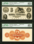 Lebanon, TN- Bank of Middle Tennessee $3 Mar. 1, 1854 as G6 as Garland 509 S-C Lb-B.BMT-3-1Pf Face and Back Proofs PMG C...